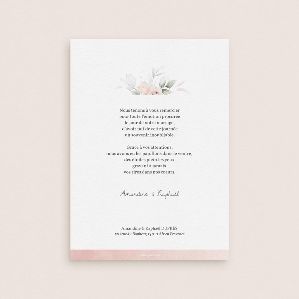 Carte de remerciement mariage La Roseraie, portrait mariés, 12 x 16,7 cm