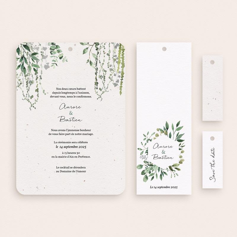 Faire-part de mariage Nature Végétale, 4 en 1