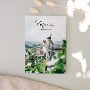 Carte de remerciement mariage Nature Végétale, Photo cérémonie, 12 x 16,7 cm