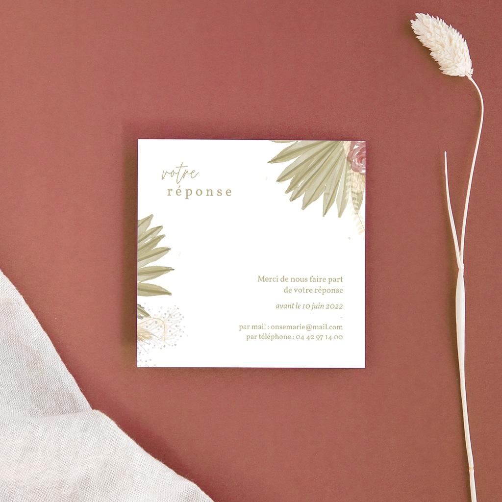 Carton réponse mariage Arche boho, végétal, Rsvp