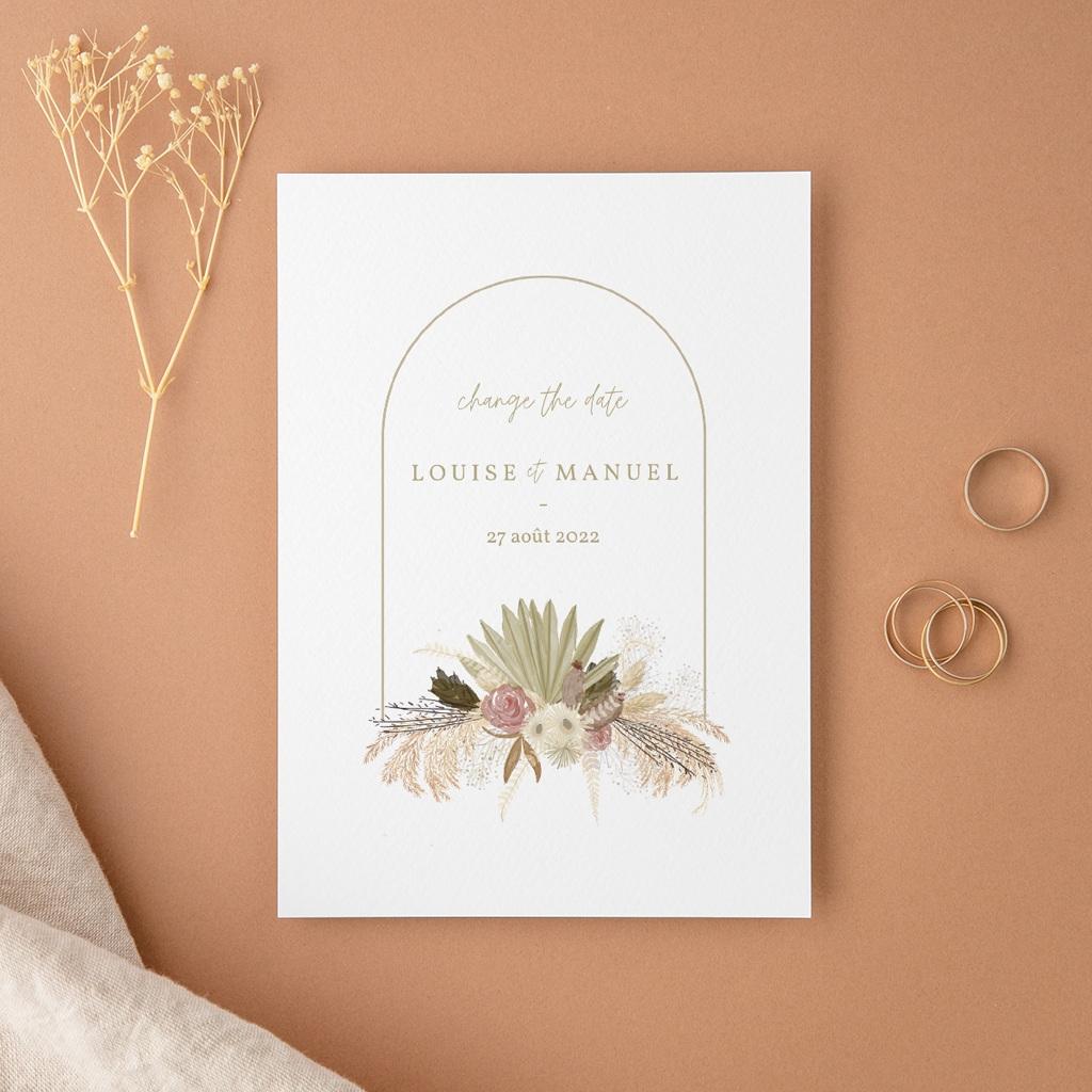 Change the date mariage Arche boho, végétal, nouvelle date