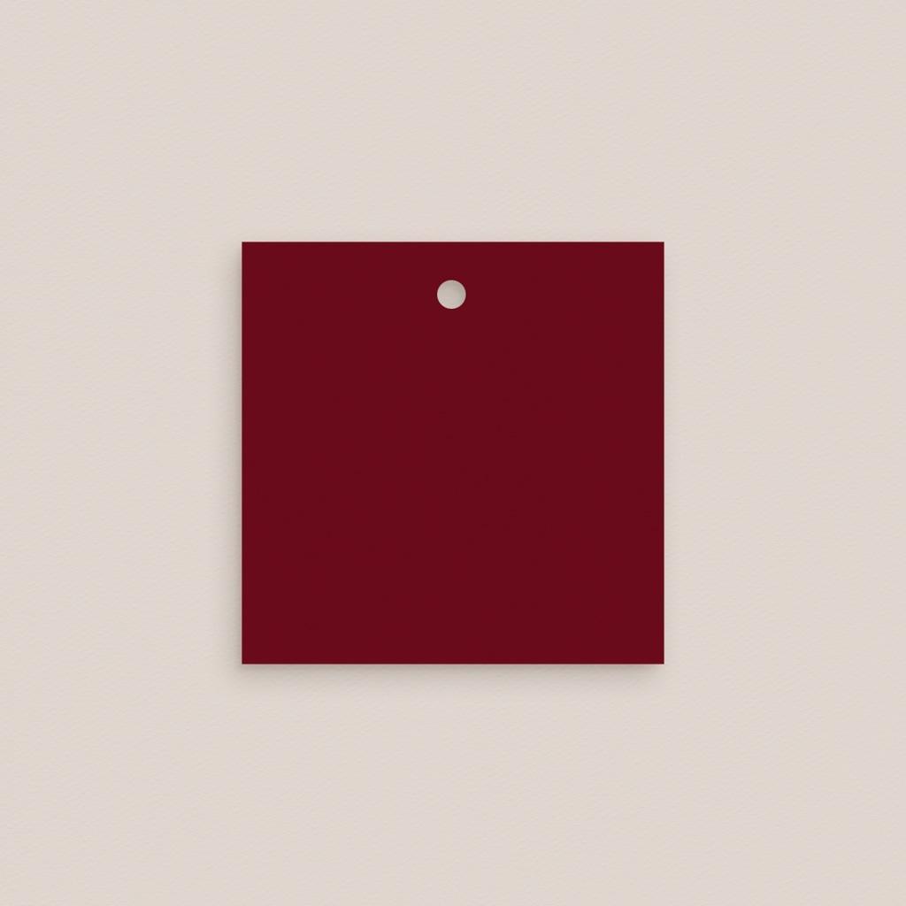 Marque-place mariage Rubis Chic, Carré 4,5 cm pas cher