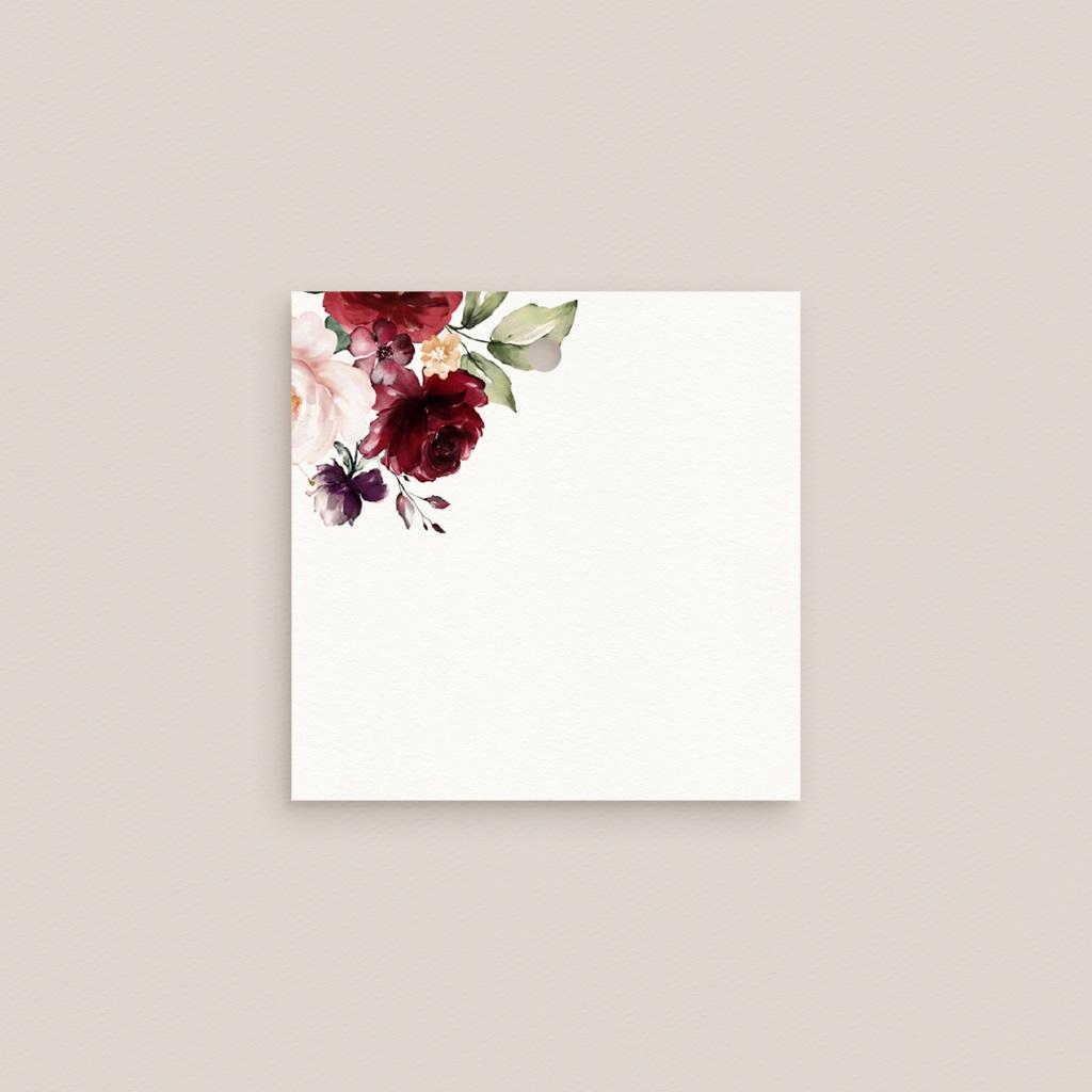 Marque-place mariage Rubis Chic, Carré 4,5 cm gratuit