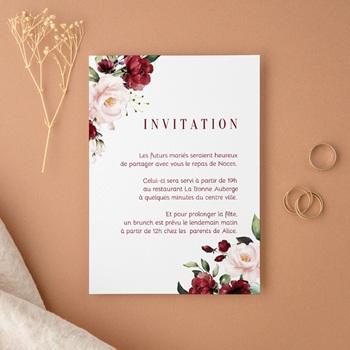 Carte d'invitation mariage Rubis Chic, 10 x 14 cm
