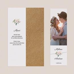 Carte de remerciement mariage Champêtre Romantique, 2 en 1 pas cher