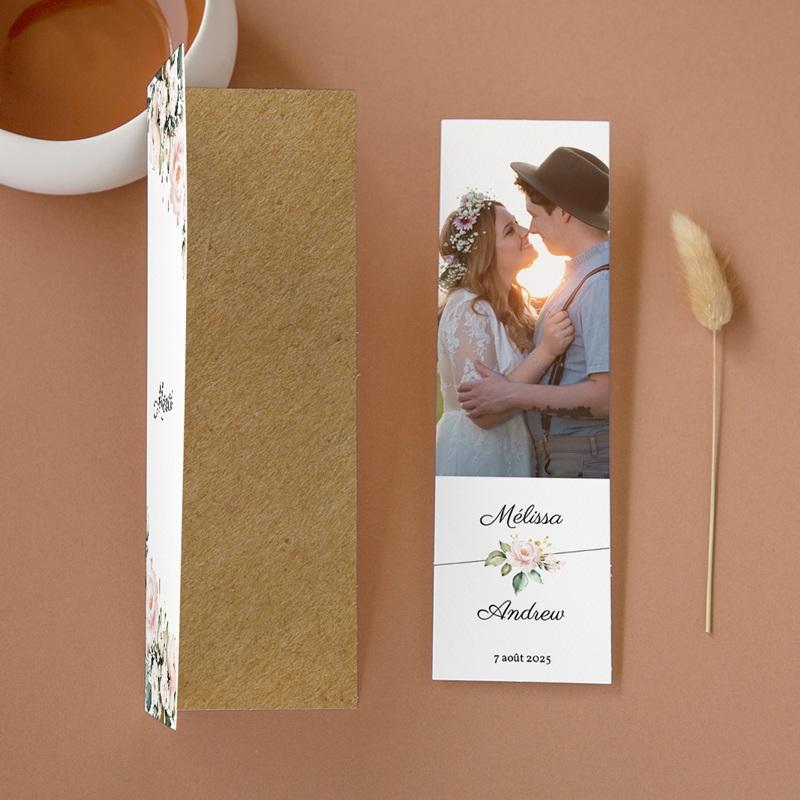 Carte de remerciement mariage Champêtre Romantique, 2 en 1