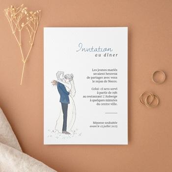 Carte d'invitation mariage Épousailles en famille, réception & soirée
