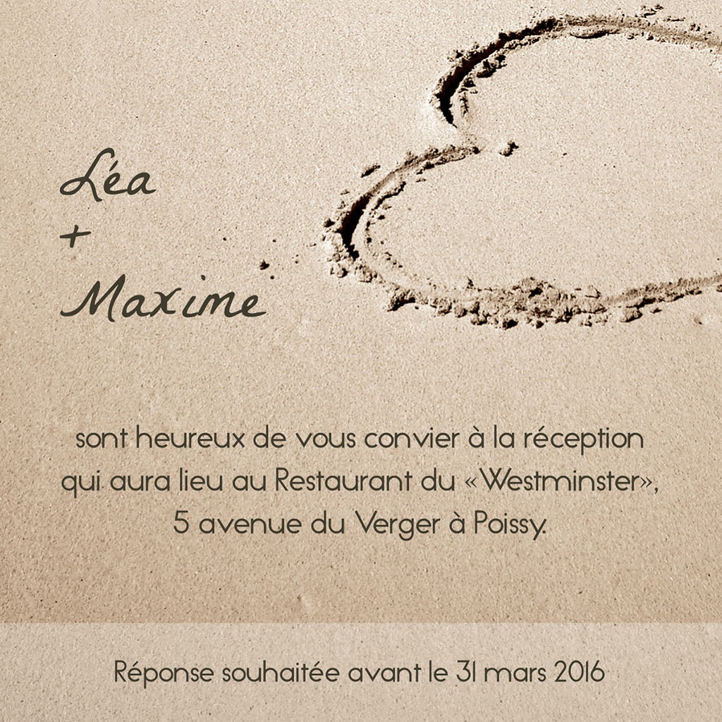 Carte d'invitation mariage La Plage  pas cher