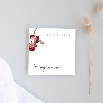 Programme mariage Bouquet de fleurs pourpres, Programme, 10 x 10