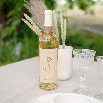 Etiquette bouteille mariage Empreinte de Fleurs sauvages, Eau ou Vin