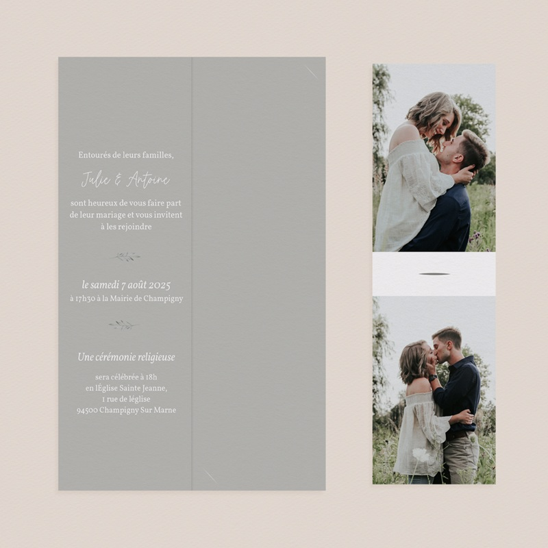 Faire-part de mariage Rameaux d'Olivier, 2 photos, 2 en 1 pas cher