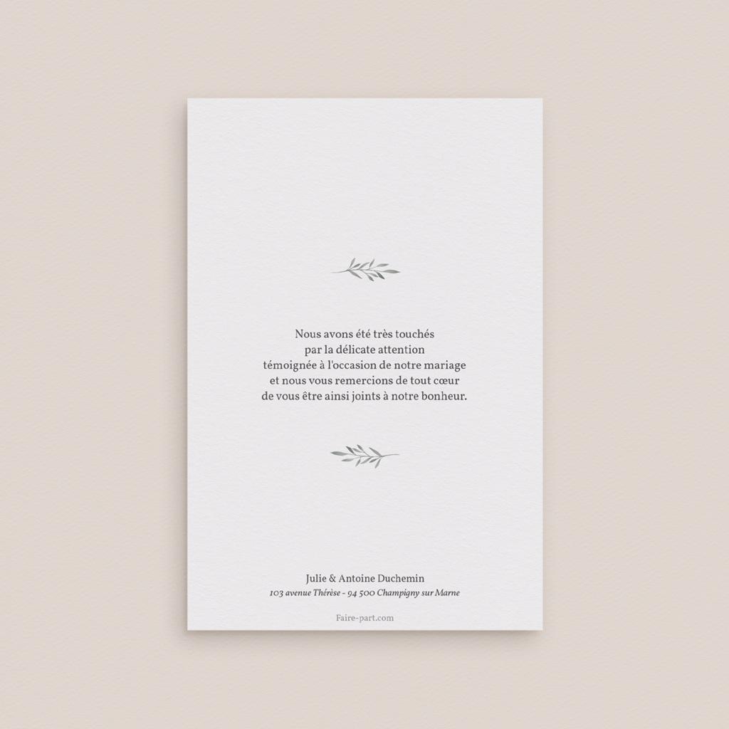 Carte de remerciement mariage Rameaux d'Olivier, Portrait, 10 x 15 cm pas cher
