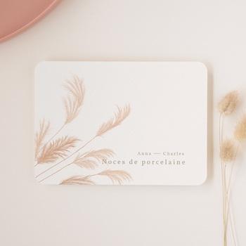 Carte anniversaire de mariage Noces de Porcelaine, Fleurs de Pampa, 17,7 x 12,7 cm