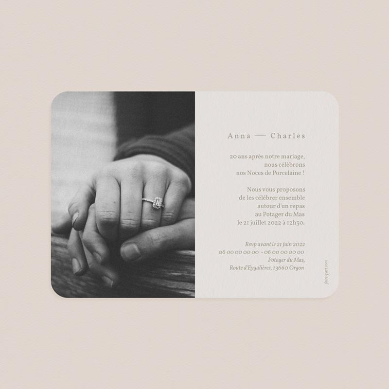Carte anniversaire de mariage Noces de Porcelaine, Fleurs de Pampa, 17,7 x 12,7 cm pas cher