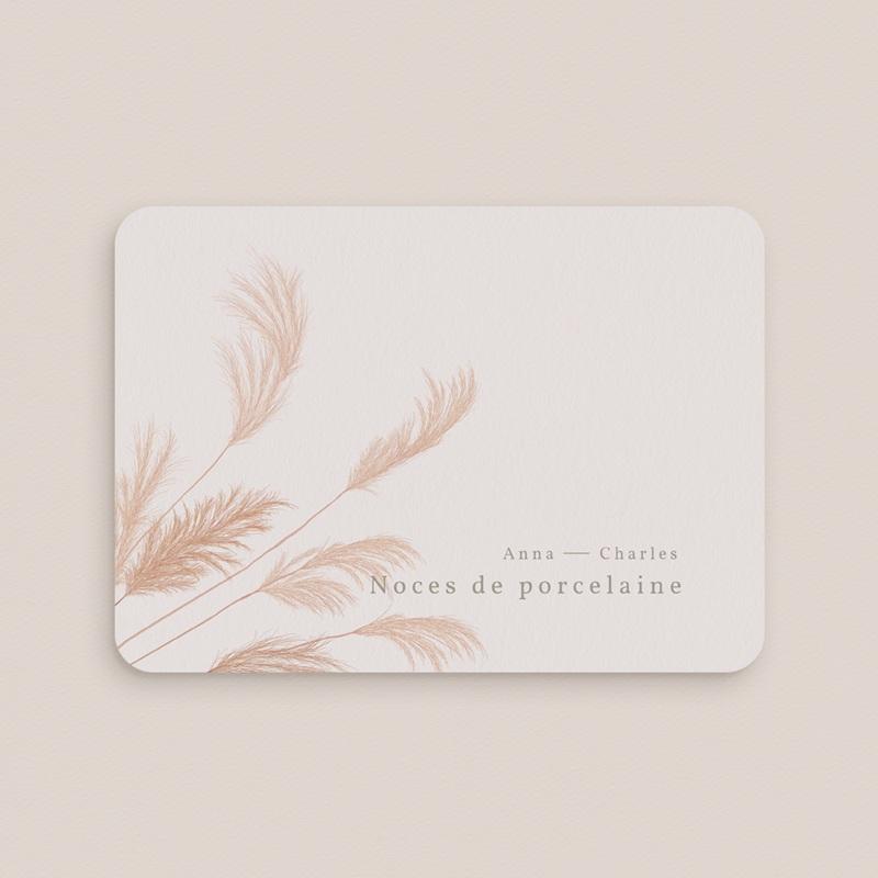 Carte anniversaire de mariage Noces de Porcelaine, Fleurs de Pampa, 17,7 x 12,7 cm gratuit
