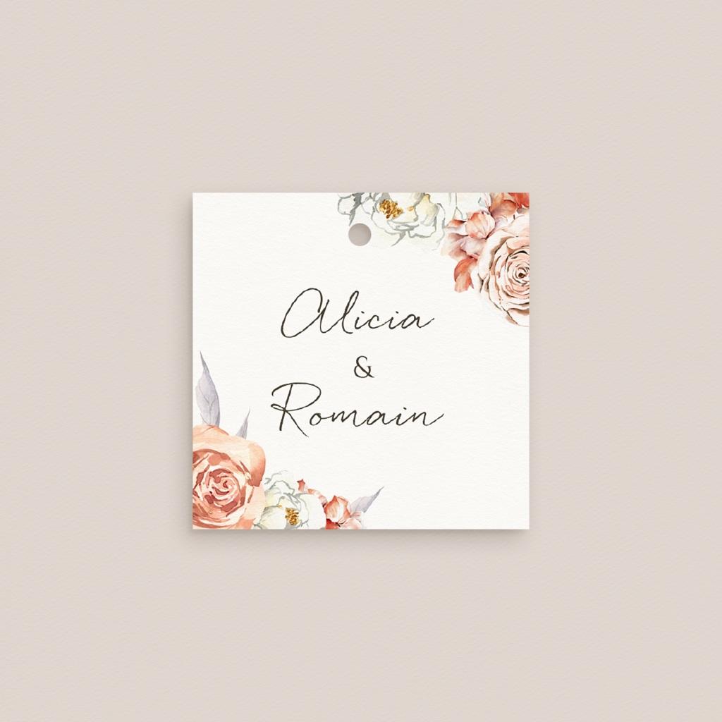 Marque-place mariage Arche de roses caramel, Invité placé pas cher