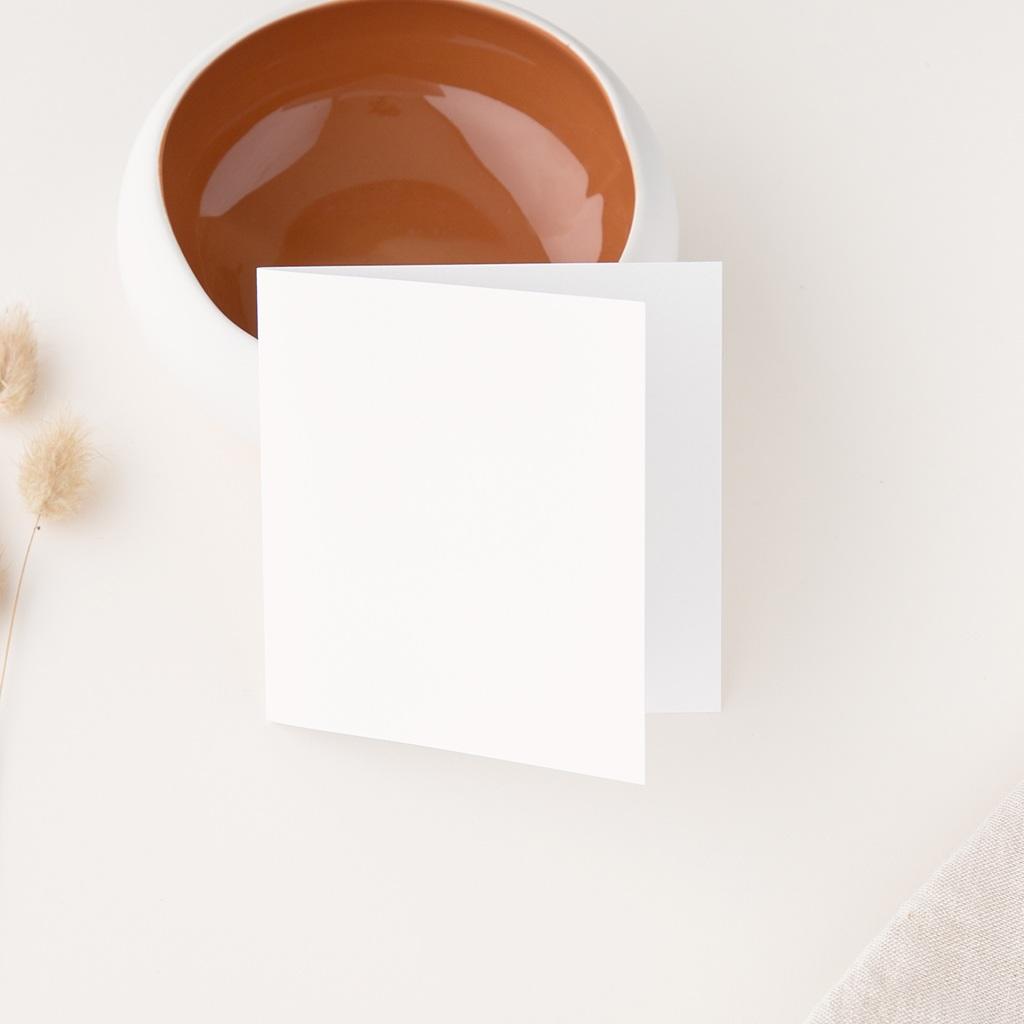 Carton réponse mariage Libre Création, Double Volet, 9,5 x 9,5 cm