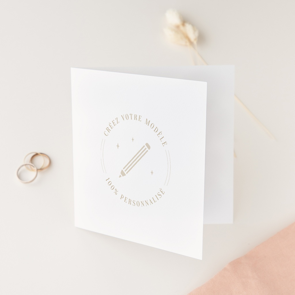 Faire-part de mariage Libre Création Mariage, Carré Double 14 x 14 cm