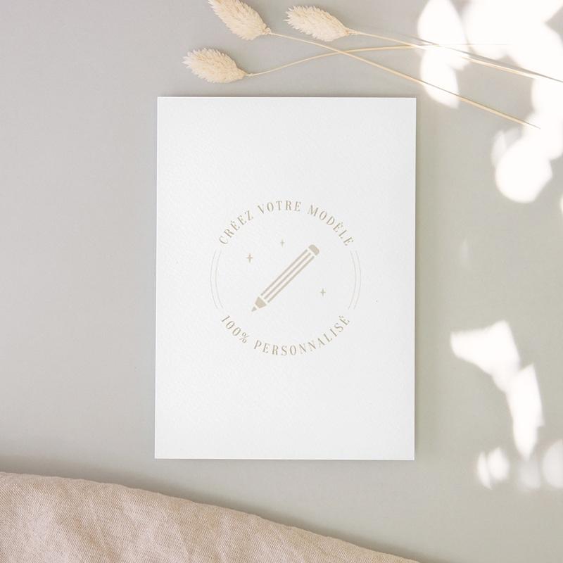 Carte de remerciement mariage Libre Création Mariage, Simple Volet, 12 x 16,7 cm