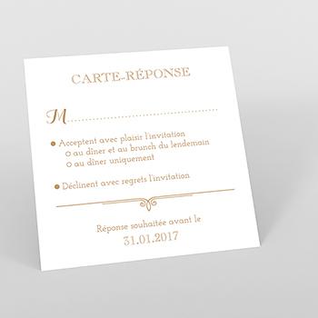 Carton réponse mariage Simple et Chic doré