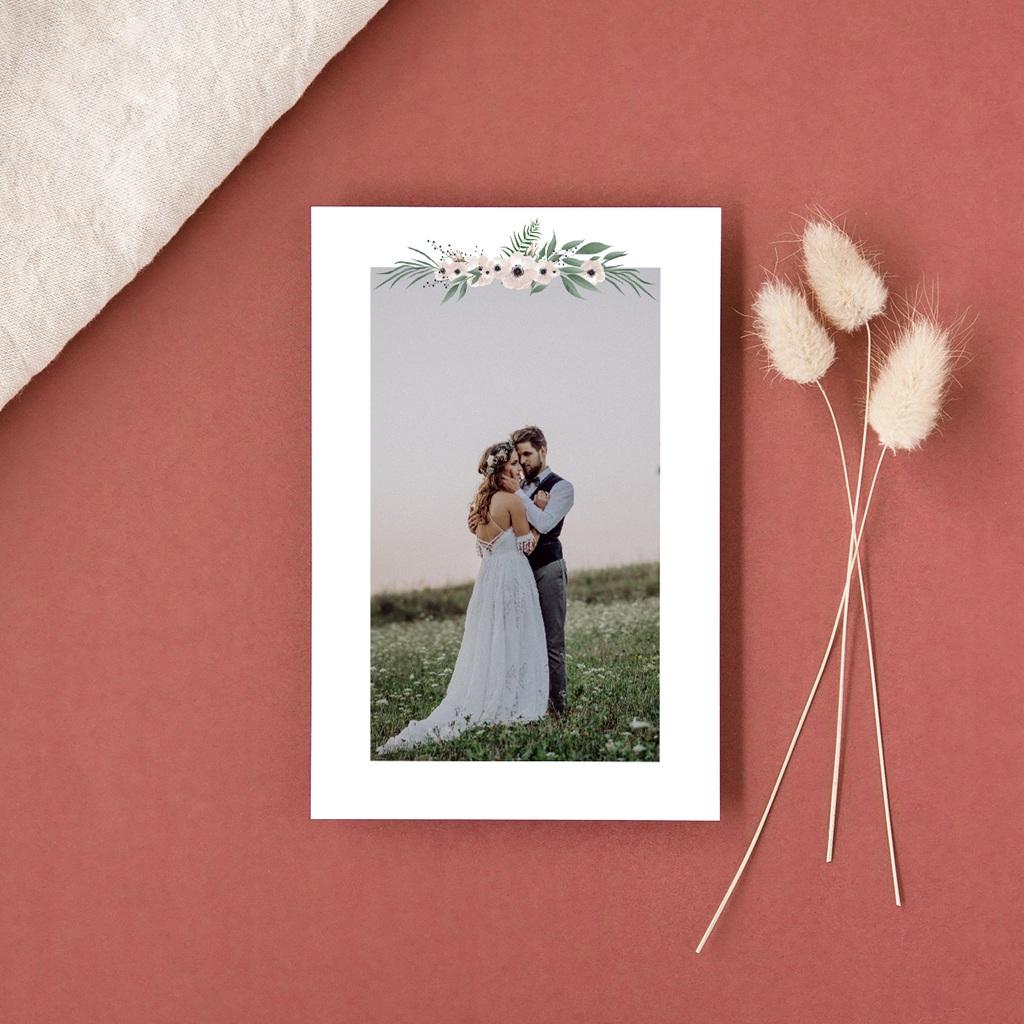 Carte de remerciement mariage Roses romantiques et feuillage gratuit