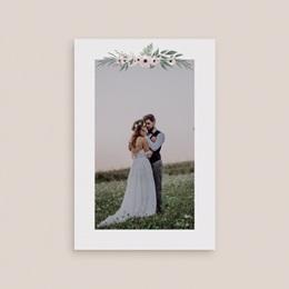 Carte de remerciement mariage Roses romantiques et feuillage