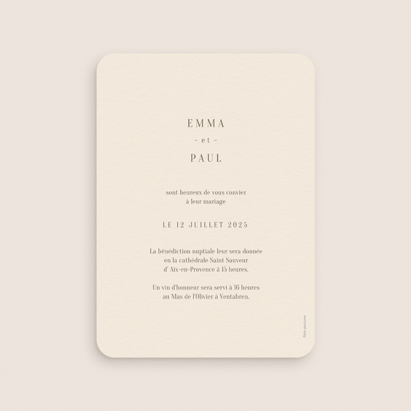 Faire-part de mariage Brin de Provence minimaliste pas cher