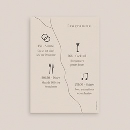Carte d'invitation mariage Brin de Provence programme pas cher