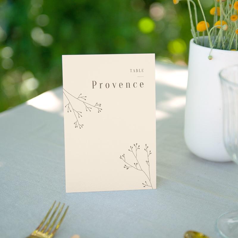 Marque table mariage Brin de Provence tables thème régions de France