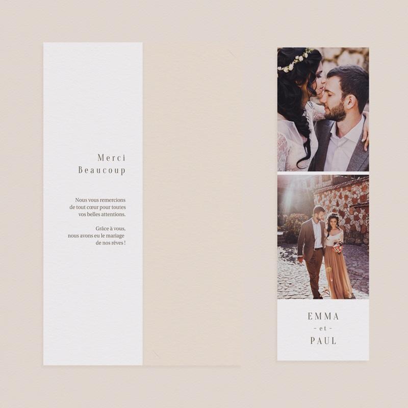 Carte de remerciement mariage Brin de Provence épuré 2 photos pas cher