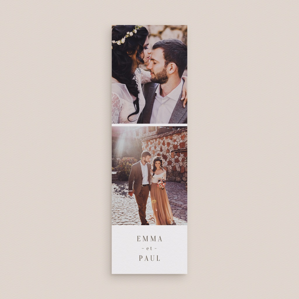 Carte de remerciement mariage Brin de Provence épuré 2 photos gratuit