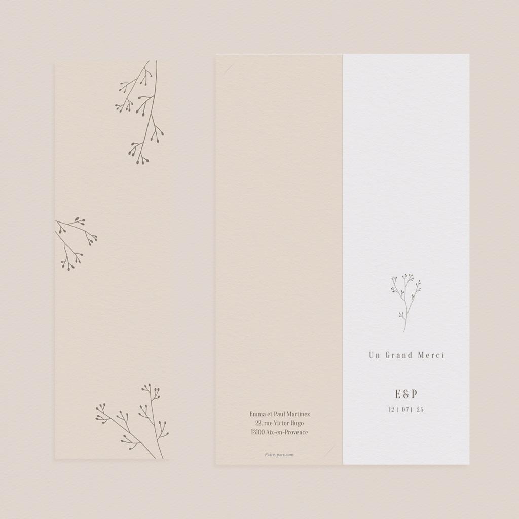 Carte de remerciement mariage Brin de Provence épuré 2 photos