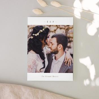 Carte de remerciement mariage Brin de Provence nude avec Photo