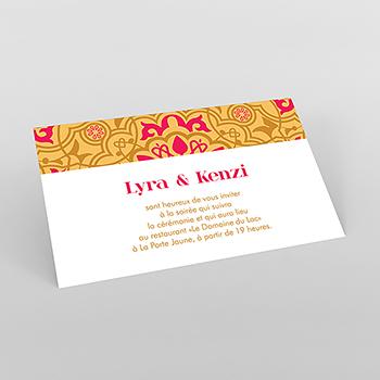 Carte d'invitation mariage Mauresque rose jaune