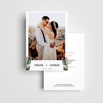 Carte de remerciement mariage Fleur de cactus