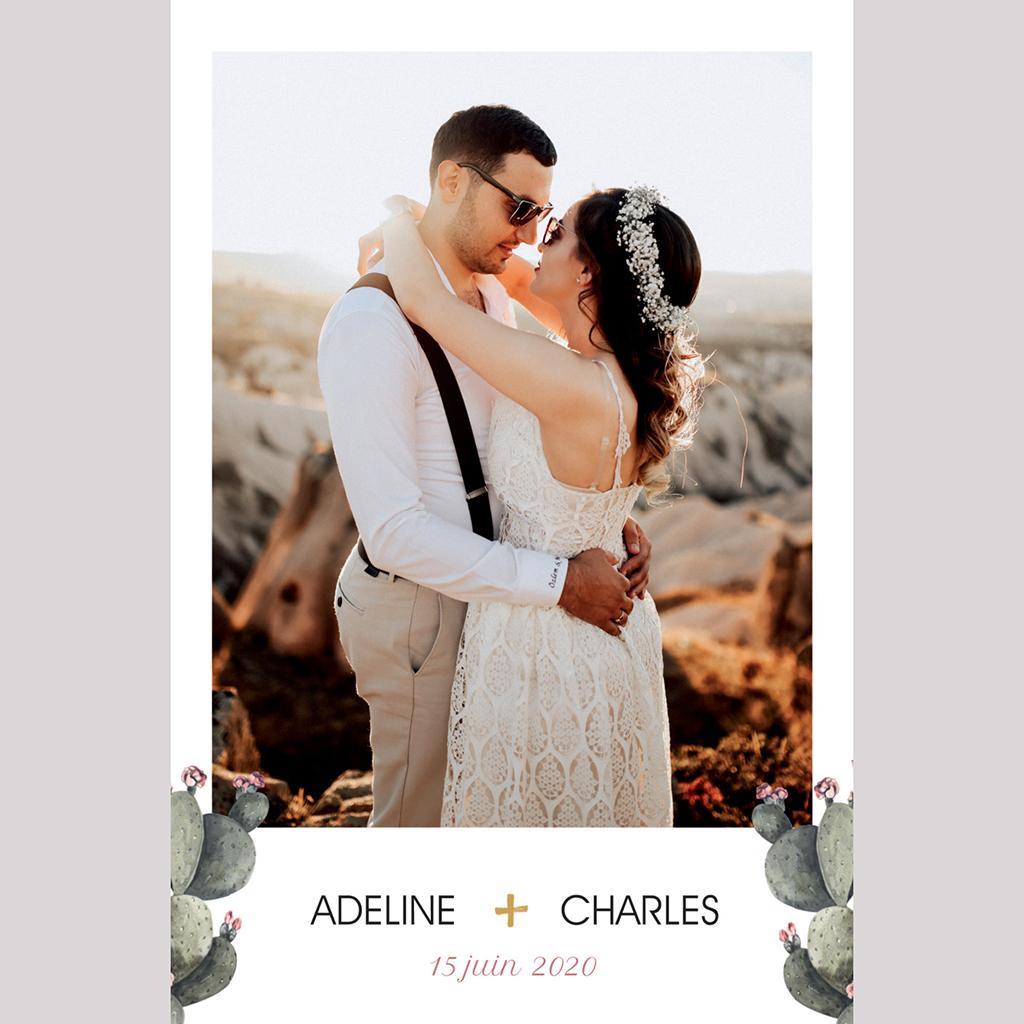 Carte de remerciement mariage Fleur de cactus pas cher