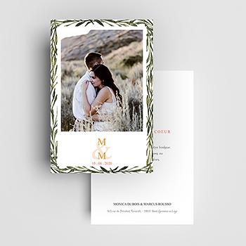 Carte de remerciement mariage Rouge champêtre
