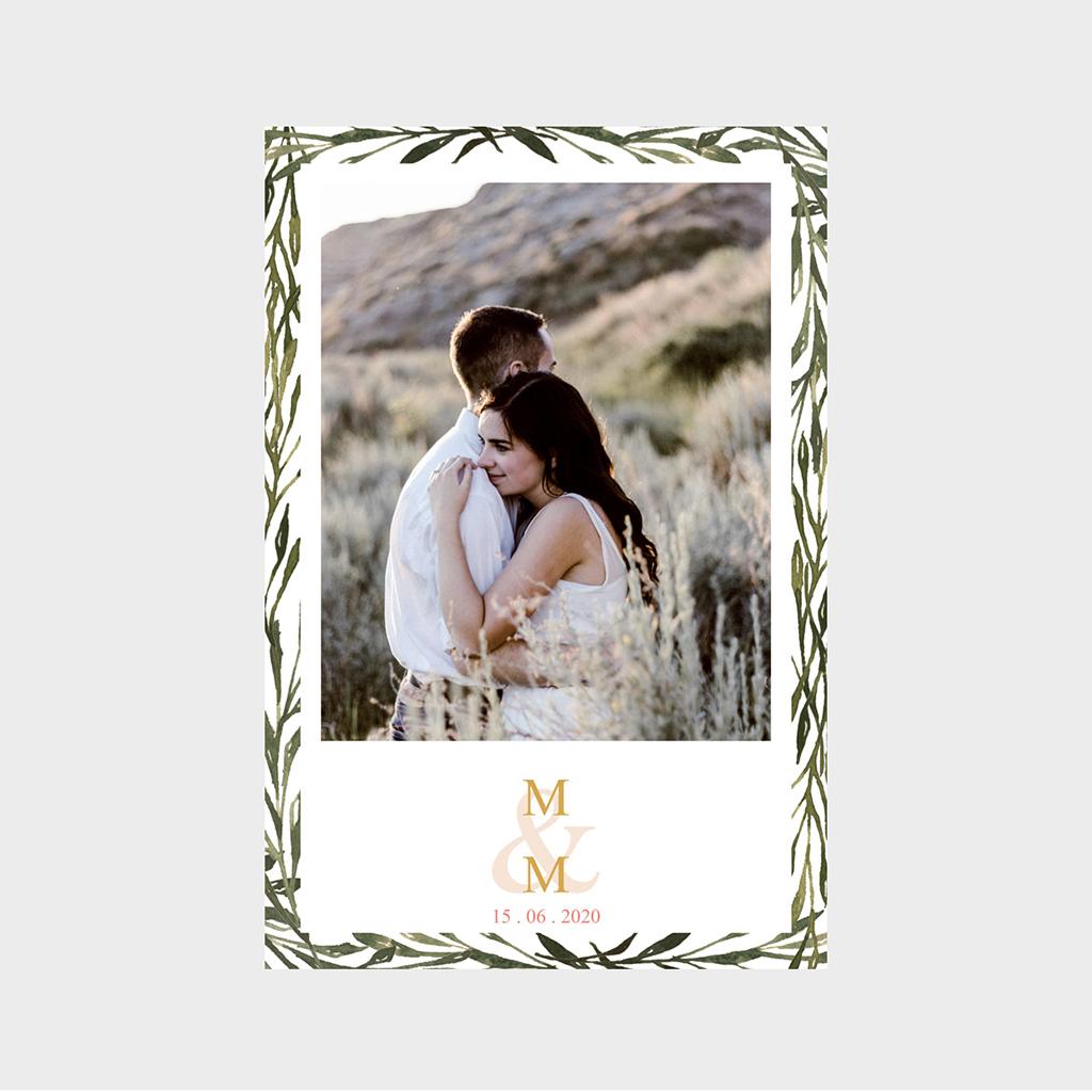 Carte de remerciement mariage Rouge champêtre pas cher