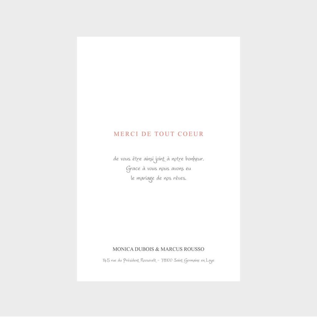 Carte de remerciement mariage Rouge champêtre gratuit