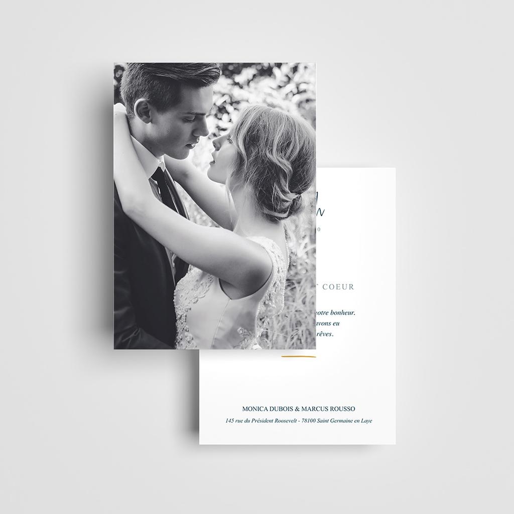 Carte de remerciement mariage Chic Aquarelle