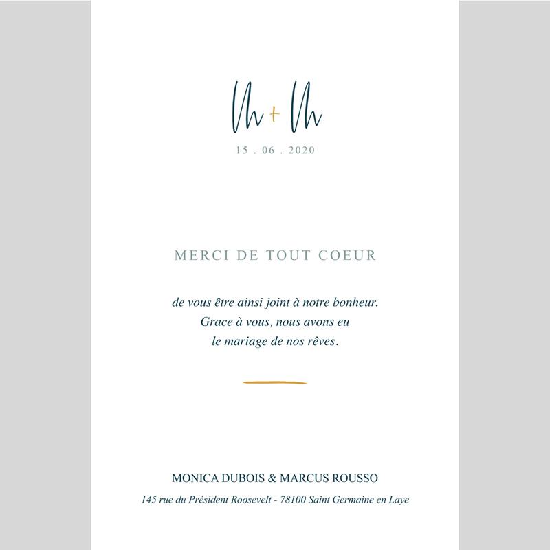 Carte de remerciement mariage Chic Aquarelle pas cher