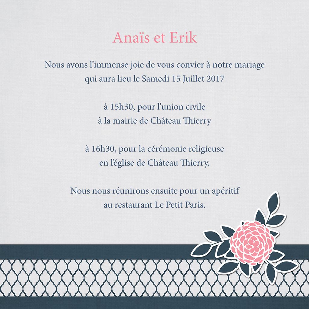 Faire-part de mariage Fleuri Chic