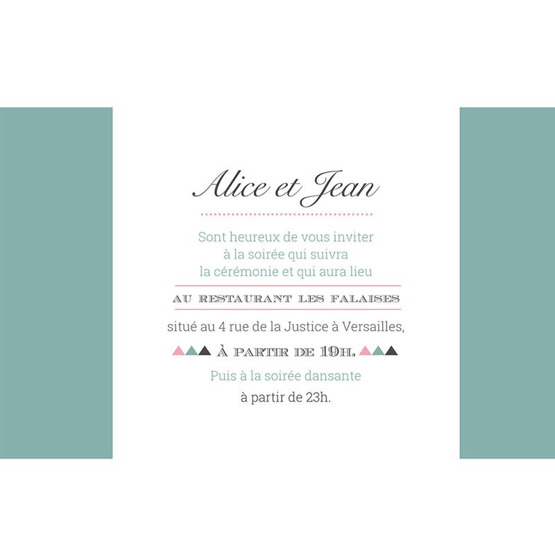 Carte d'invitation mariage Letterpress Graphic pas cher