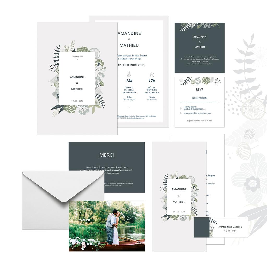 Carte d'invitation mariage Matcha gratuit