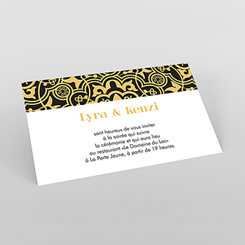Carte d'invitation mariage Mauresque noir jaune