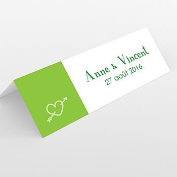 Marque-place mariage Jeu de mots vert