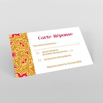 Carton réponse mariage Mauresque rose jaune