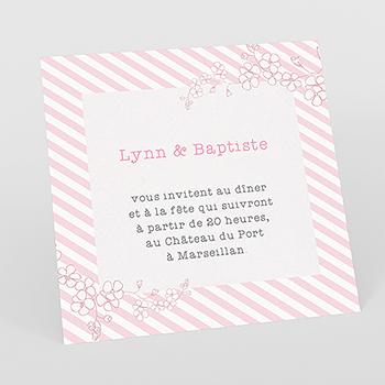 Carte d'invitation mariage La vie en rose