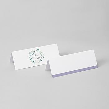 Marque-place mariage Couronne Fleurs Violettes