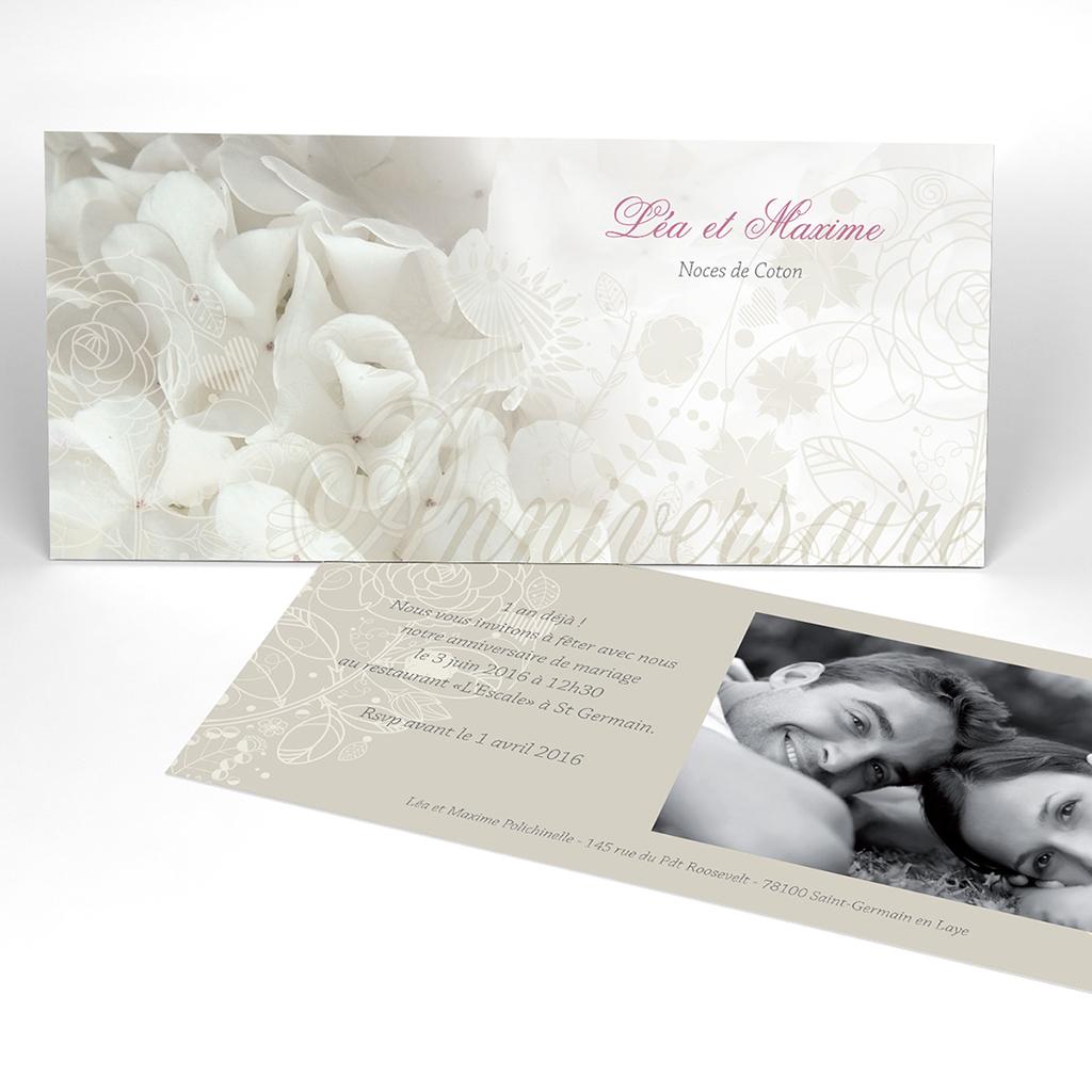 Carte anniversaire de mariage Mariage ivoire